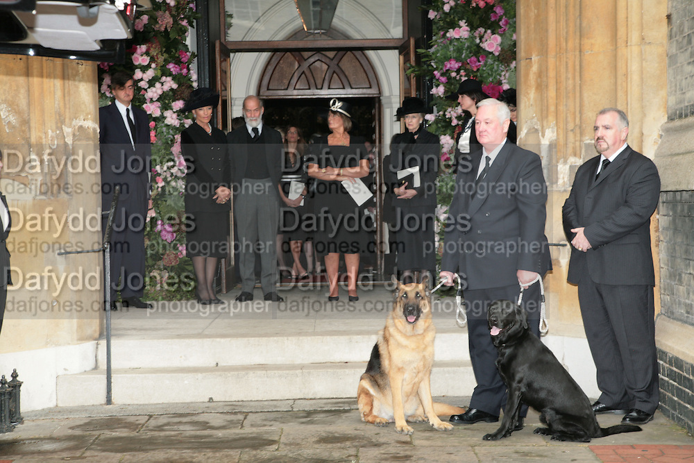 Robin Birley, Princess Michael and Prince Michael of Kent, Lady Annabel Goldsmith and Princess Alexandra. Mark Birley's  dogs, black labrador George and Alsatian Tara Mark Birley funeral. St Paul's , Knightsbridge. London. 19 September 2007. -DO NOT ARCHIVE-© Copyright Photograph by Dafydd Jones. 248 Clapham Rd. London SW9 0PZ. Tel 0207 820 0771. www.dafjones.com.