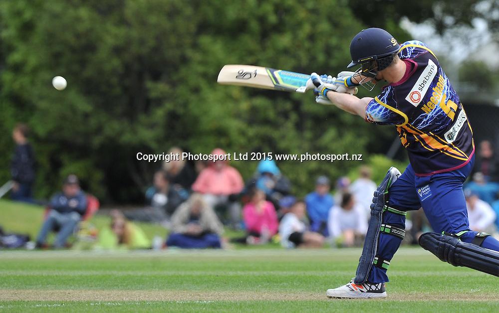 Otago Volts Jimmy Neesham bats in the Georgie Pie Super Smash Twenty20 cricket match between the Otago Volts v Canterbury Kings held at the University Oval, Dunedin. 29 November 2015.