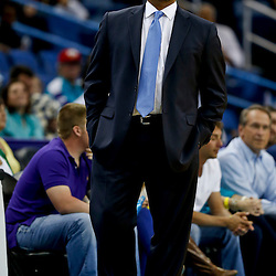 Mar 18, 2013; New Orleans, LA, USA; Golden State Warriors head coach Mark Jackson against the New Orleans Hornets during the first quarter a game at the New Orleans Arena. The Warriors defeated the Hornets 93-72. Mandatory Credit: Derick E. Hingle-USA TODAY Sports