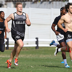 DURBAN, SOUTH AFRICA Monday 29th June 2015 - Michael Claassens with Paul Jordaan during the Cell C Sharks Conditioning training session at Growthpoint Kings Par in Durban, South Africa. (Photo by Steve Haag)