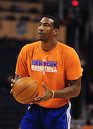Jan. 7 2011; Phoenix, AZ, USA; New York Knicks forward Amar'e Stoudemire (1) warms up prior to the game against the Phoenix Suns at the US Airways Center. Mandatory Credit: Jennifer Stewart-US PRESSWIRE.