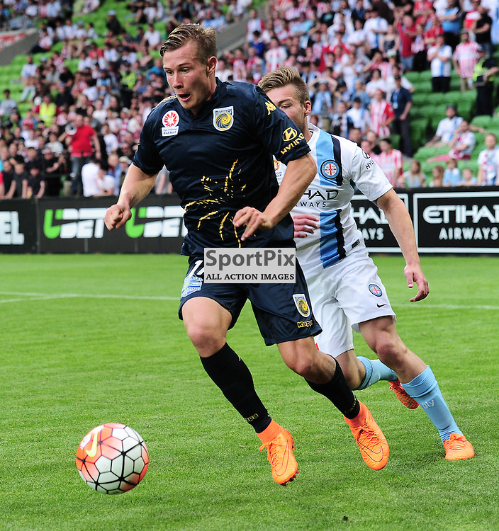 Nick Fitzgerald of Central Coast Mariners, Jacob Melling of Melbourne City - Hyundai A-League,  25th October 2015, RD 3, Melbourne City FC v Central Coast Mariners with a win to City 3:1 © Mark Avellino | SportPix.org.uk