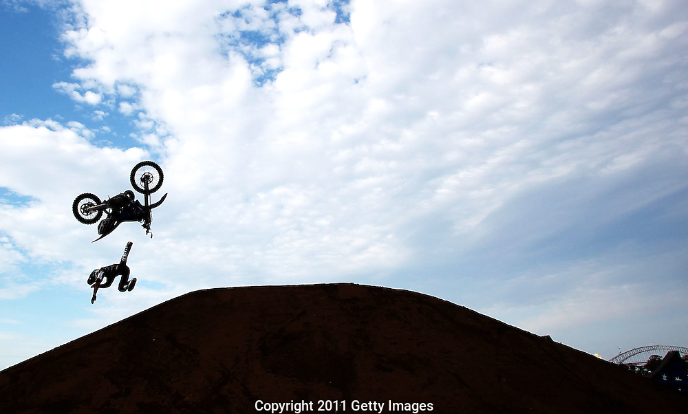 SYDNEY, AUSTRALIA - SEPTEMBER 17:  Rob Adelberg of Australia crashes during the Red Bull X-Fighters world tour on Cockatoo Island on September 17, 2011 in Sydney, Australia.  (Photo by Marianna Massey/Getty Images) *** Local Caption *** of Australia crashes during t