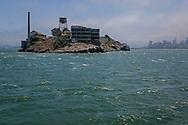 View of Alcatraz Island prison from San Francisco Bay, California