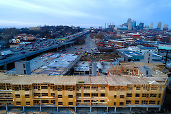 Construction underway on Crossroads West new residential property in Kansas City, Missouri.