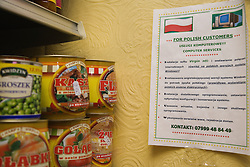 Advert in Polish language advertising computer services displayed in in Polish Delicatessen,