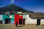 Antigua: the Mayan village of Santa Maria de Jesus, at slopes of Vocan Agua (3766 metres), which rises dramatically behind the village.