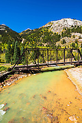 Durango & Silverton Narrow Gauge Railroad bridge on the Animas River, San Juan National Forest, Colorado USA