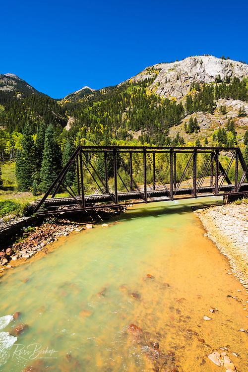 Durango & Silverton Narrow Gauge Railroad bridge on the Animas River, San Juan National Forest, Colorado USA