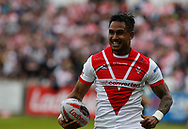 Ben Barba of St Helens races away to score the 2nd try of the game against Castleford Tigers during the Ladbrokes Challenge Cup match at the Mend-A-Hose Jungle, Castleford<br /> Picture by Stephen Gaunt/Focus Images Ltd +447904 833202<br /> 12/05/2018