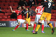 Charlton Athletic defender Adam Chicksen (3) tackling Bradford City midfielder Mark Marshall (7) during the EFL Sky Bet League 1 match between Charlton Athletic and Bradford City at The Valley, London, England on 14 March 2017. Photo by Matthew Redman.