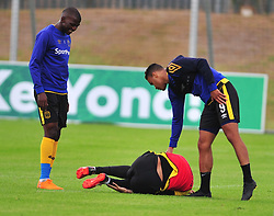 Cape Town--180329 Cape Town City defender and captain Robyn Johannes lying down after being knocked by Matthew Rusike at training while preparing for their  Nedbank Cup game against Sundowns on sunday  .Photographer;Phando Jikelo/African News Agency/ANA