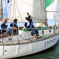 Round the Island Race 2003. Robin Knox Johnson, Suhaili. Cowes, Isle of Wight, England,,