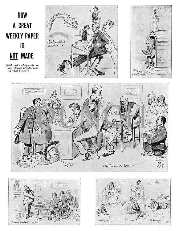 "How a Great Weekly Paper is NOT Made. (With acknowledgments to the colossal advertisement in ""The Times."") (an Edwardian cartoon parodies the editorial process at the offices of Punch magazine)"