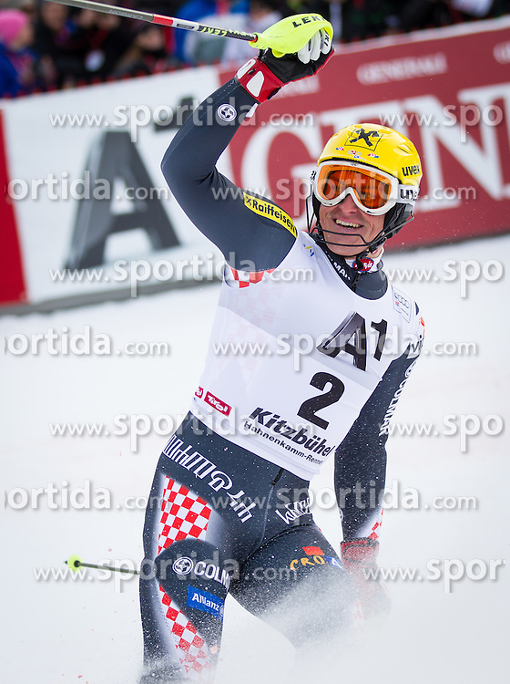 27.01.2013, Ganslernhang, Kitzbuehel, AUT, FIS Weltcup Ski Alpin, Slalom, Herren, 2. Lauf, im Bild Ivica Kostelic (CRO) // Ivica Kostelic of Croatia reacts after 2nd run of the mens Slalom of the FIS Ski Alpine World Cup at the Ganslernhang course, Kitzbuehel, Austria on 2013/01/27. EXPA Pictures © 2013, PhotoCredit: EXPA/ Johann Groder