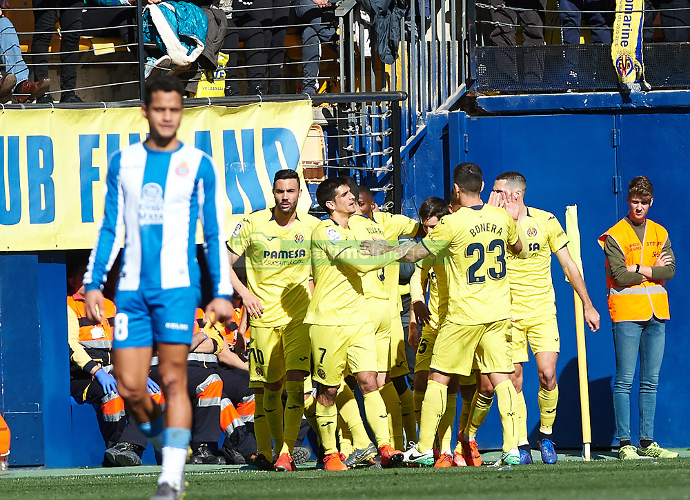 February 3, 2019 - Villarreal, Castellon, Spain - Villarreal players celebrates a goal during the La Liga match between Villarreal and Espanyol at Estadio de la Ceramica on February 3, 2019 in Vila-real, Spain. (Credit Image: © Maria Jose Segovia/NurPhoto via ZUMA Press)