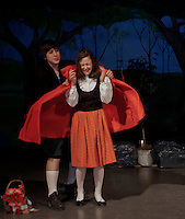 """The Baker played by Michael O'Brien tries to console Little Red Riding Hood played by Emily Paronto during dress rehearsal for """"Into The Woods"""" at Laconia Middle School Wednesday afternoon.  (Karen Bobotas/for the Laconia Daily Sun)"""
