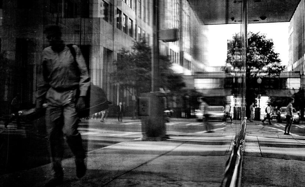 Window reflections of a street scene in  downtown Charlotte, NC.