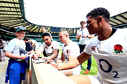 Denny Solomona, Mike Brown and Nathan Earle of England sign autographs after training at Twickenham ahead of the upcoming tour of Argentina - Mandatory by-line: Robbie Stephenson/JMP - 02/06/2017 - RUGBY - Twickenham - London, England - England Rugby Training