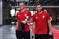 Gareth Bale (L) and Adam Matthews of Wales national football team are pictured in a training session before the semi-final match against China during the 2018 Gree China Cup International Football Championship in Nanning city, south China's Guangxi Zhuang Autonomous Region, 20 March 2018.