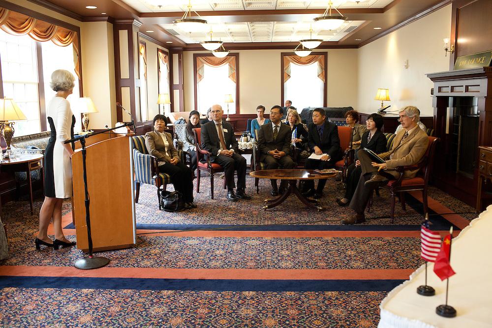 Dr. Lorna Jean Edmonds speaks at a signing of a Memorandum of Understanding between Beijing International Studies University and Ohio University at Baker Center on October 15, 2013. Photo by Stephen Reiss.