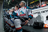 KELOWNA, CANADA - FEBRUARY 14: Carsen Twarynski #18 of the Kelowna Rockets sits on the bench at the start of the game against the Red Deer Rebels on February 14, 2018 at Prospera Place in Kelowna, British Columbia, Canada.  (Photo by Marissa Baecker/Shoot the Breeze)  *** Local Caption ***