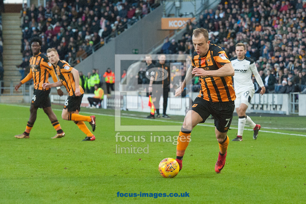 Kamil Grosicki of Hull City pushes forward during the Sky Bet Championship match at the KCOM Stadium, Hull<br /> Picture by Matt Wilkinson/Focus Images Ltd 07814 960751<br /> 26/12/2017