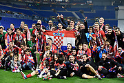Players of Atletico de Madrid celebrate with Europa League trophy after the UEFA Europa League, Final football match between Olympique de Marseille and Atletico de Madrid on May 16, 2018 at Groupama Stadium in Decines-Charpieu near Lyon, France - Photo Jean-Marie Hervio / ProSportsImages / DPPI