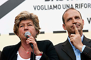 Roma 10  Maggio 2012.Giornata nazionale contro la precarietà e per una riforma del lavoro promossa dalla CGIL.Il Segretario Generale della Cgil, Susanna Camusso,Claudio Di Berardino, segretario generale della Cgil di Roma e del Lazio..Rome May 10, 2012.National Day against precarity and for a labor reform promoted by the CGIL.