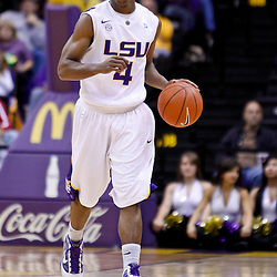 November 30, 2010; Baton Rouge, LA, USA;  LSU Tigers guard Chris Bass (4) during the first half against the Houston Cougars at the Pete Maravich Assembly Center.  Mandatory Credit: Derick E. Hingle