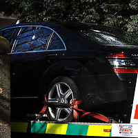 Sir Fred Goodwins house was vandalised overnight with windows being smashed and his car vandalised in Edinburgh...Pic shows Sir Fred Goodwin's Mercedes being taken away.