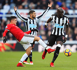Alexis Sanchez of Manchester United and Mohamed Diame of Newcastle United - Mandatory by-line: Matt McNulty/JMP - 11/02/2018 - FOOTBALL - St James Park - Newcastle upon Tyne, England - Newcastle United v Manchester United - Premier League