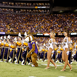 Sep 25, 2010; Baton Rouge, LA, USA; The LSU Tiger Band performs on the field prior to kickoff of a game between the LSU Tigers and the West Virginia Mountaineers at Tiger Stadium.  Mandatory Credit: Derick E. Hingle