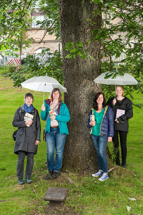 Glasgow Women's Library ladies with the Suffragette Oak, Kelvin Way, Glasgow,Scottish Tree of the Year 2015 candidate