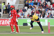 Aaron Thomason of the Birmingham Bears during the Vitality T20 Blast North Group match between Lancashire Lightning and Birmingham Bears at the Emirates, Old Trafford, Manchester, United Kingdom on 10 August 2018.