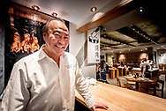 """Chef George Chen at the """"duck station"""" in his China Live restaurant in Chinatown, San Francisco."""