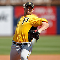 February 26, 2011; Port Charlotte, FL, USA; Pittsburgh Pirates starting pitcher Brad Lincoln (32) during a spring training exhibition game against the Tampa Bay Rays at Charlotte Sports Park.  Mandatory Credit: Derick E. Hingle
