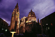 Cathedral in Toledo at dusk, Spain.