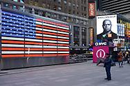 USA flag on Time Square, New York City.