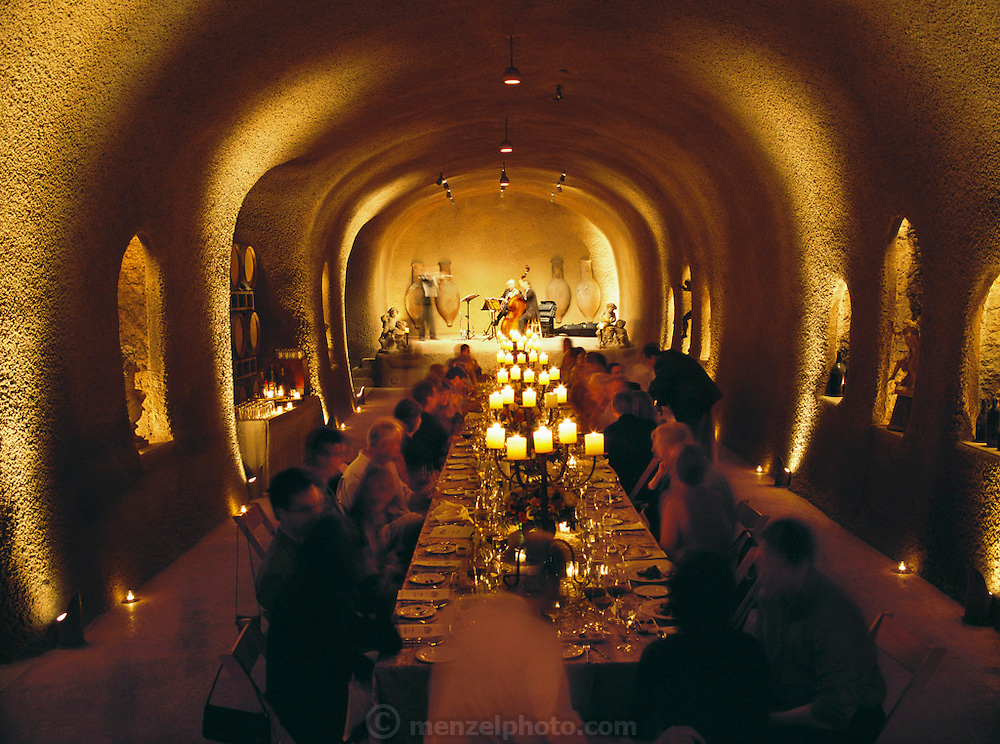 Clos Pegasse Winery banquet room in the winery caves. Calistoga, Napa Valley, California.