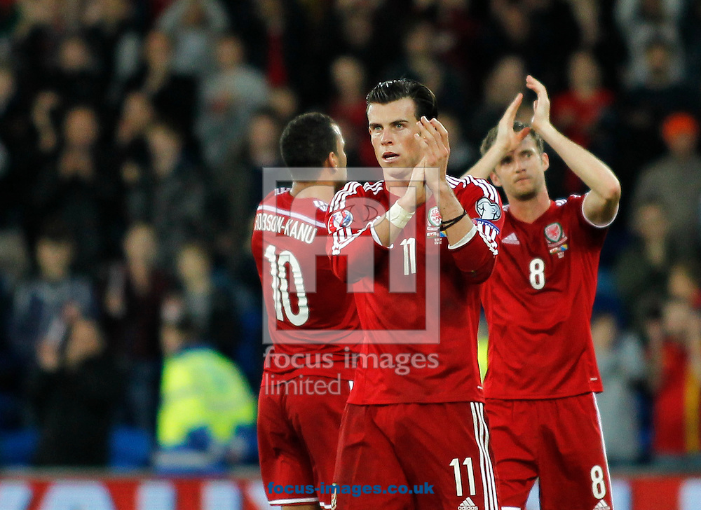 Gareth Bale of Wales after the UEFA Euro 2016 Qualifying match at the Cardiff City Stadium, Cardiff<br /> Picture by Mike  Griffiths/Focus Images Ltd +44 7766 223933<br /> 10/10/2014
