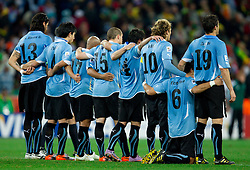 Team of Uruguay during penalty shots at the 2010 FIFA World Cup South Africa Quarter Finals football match between Uruguay and Ghana on July 02, 2010 at Soccer City Stadium in Sowetto, suburb of Johannesburg. (Photo by Vid Ponikvar / Sportida)