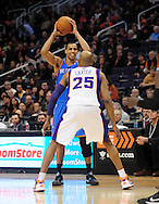 Feb. 4, 2011; Phoenix, AZ, USA; Oklahoma City Thunder guard Thabo Sefolosha (2) is guarded by Phoenix Suns forward Vince Carter (25) at the US Airways Center. Mandatory Credit: Jennifer Stewart-US PRESSWIRE