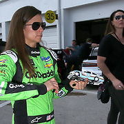 Danica Patrick, driver of the #7 GoDaddy Chevrolet is seen during practice for the 60th Annual NASCAR Daytona 500 auto race at Daytona International Speedway on Friday, February 16, 2018 in Daytona Beach, Florida.  (Alex Menendez via AP)