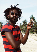 Burning Spear with splif on the Beach at St Ann's Bay Jamaica 1978