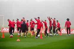Manchester United players warm up - Mandatory byline: Matt McNulty/JMP - 07966386802 - 02/11/2015 - FOOTBALL - Aon Training Complex -Manchester,England - UEFA Champions League