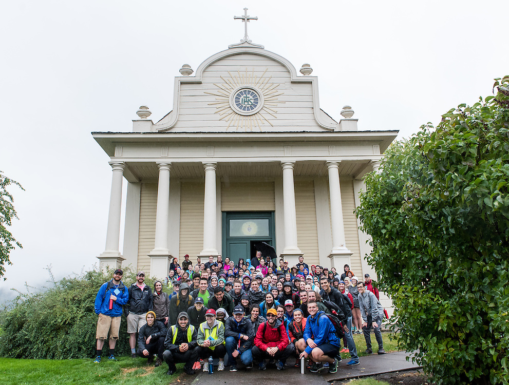 170 students and faculty members of Gonzaga University convened for the 48th annual Pilgrimage in the North Idaho Wilderness, culminating with a mass in the Cataldo Mission on September 17, 2016. (Photo by Edward Bell)