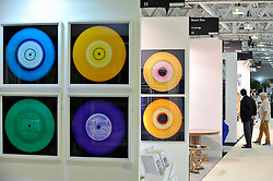"""© Licensed to London News Pictures. 27/06/2017. London, UK.  """"Vinyl Collection"""" by Heidler & Heeps at The Arts & Antiques Fair taking place at Olympia in Kensington.  The event is the UK's largest and most established art and antiques fair and runs until 2 July.  Photo credit : Stephen Chung/LNP"""