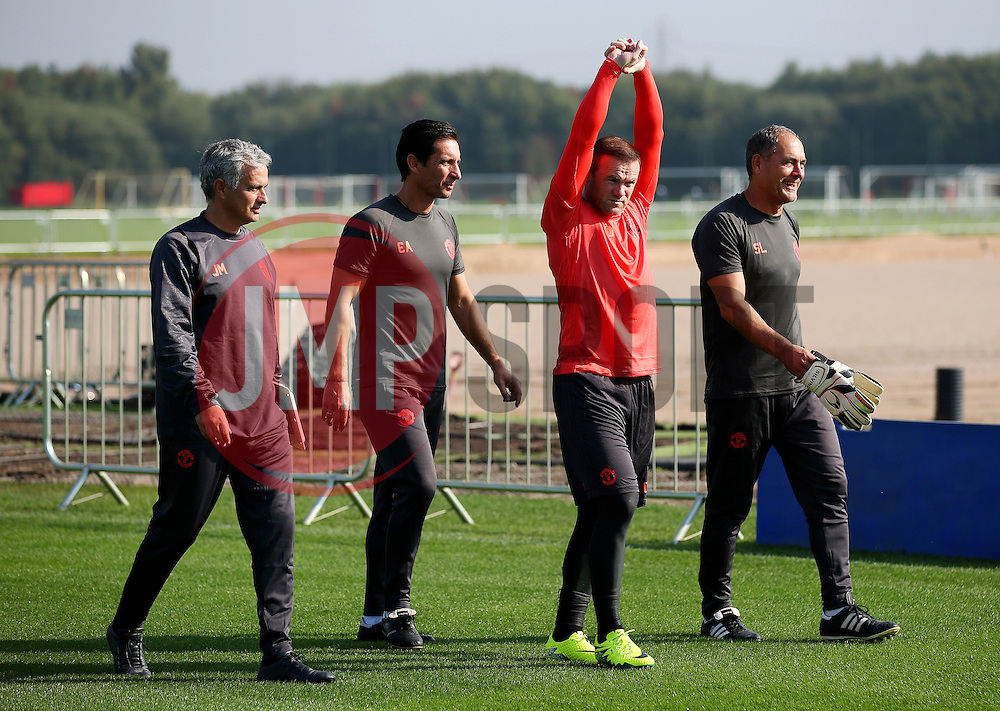 Manchester United manager Jose Mourinho walks to the training pitch with Wayne Rooney - Mandatory by-line: Matt McNulty/JMP - 14/09/2016 - FOOTBALL - Manchester United - Training session ahead of Europa League Group A match against Feyenoord