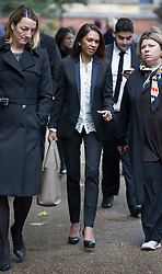 © Licensed to London News Pictures. 13/10/2016. London, UK. Gina Miller (C) leaves the High Court. Ms Miller and other campaigners are launching a legal challenge, after the EU referendum result, to force the government to seek Parliamentary approval before Brexit negotiations begin. Photo credit: Peter Macdiarmid/LNP